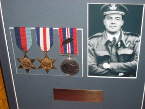 Gerald Hood's Medals: 1939-45 Star, France and Germany Star, WWII medal with oak leaf for Mentioned in Despatches.