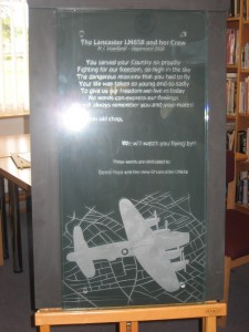 Etched glass memorial plate, a copy of the one to be placed in De Vloedbeld Woods.