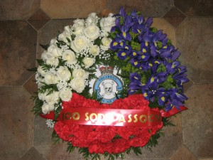 100 Squadron Association Wreath - Provided by Annie B's florists of Burscough