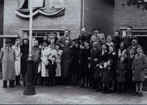 Liberation day in Hengelo, Harold Paston-Williams is extreme right, middle row, wearing a beret. John Downie is fifth from the left, front row, in hat and light raincoat. Second from the left, front row, in a light raincoat is Roy Fellows, rear gunner of ME732 the 61Squadron Lancaster that crashed on Almelo in Sept 44.