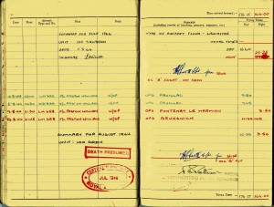 Flight Sergeant Laurence Roy Watts - last page of logbook