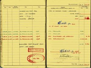 Flight Sergeant Laurence Roy Watts - last page of logbook