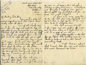 Flight Sergeant Laurence Roy Watts' last letter